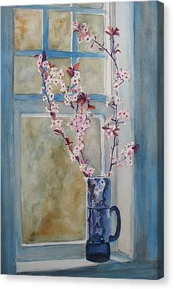 Cherry Blossoms In A Blue Pitcher Canvas Print by Jenny Armitage