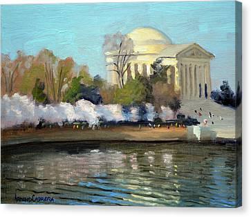 Cherry Blossoms Canvas Print - Cherry Blossoms Morning - Washington Dc by Armand Cabrera