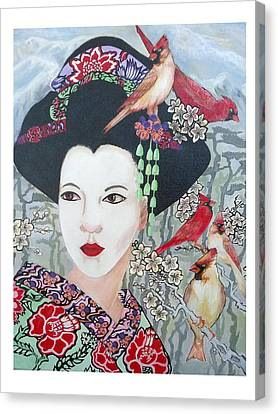 Canvas Print featuring the painting Cherry Blossoms by Suzanne Silvir