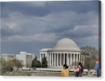 Cherry Blossoms With Jefferson Memorial - Washington Dc - 011341 Canvas Print by DC Photographer