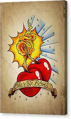 Cherry Bomb Canvas Print by Samuel Whitton