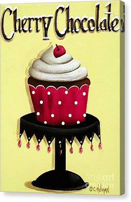 Cherry Chocolate Cupcake Canvas Print by Catherine Holman