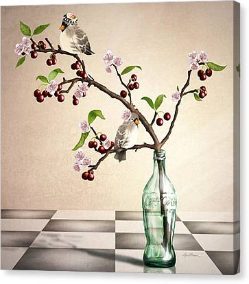 Finch Canvas Print - Cherry Coke by April Moen