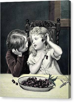 Cherry Earrings Vintage Print Canvas Print