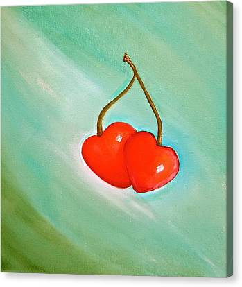 Cherry Hearts Canvas Print
