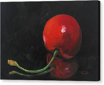 Cherry On Black Canvas Print by Torrie Smiley