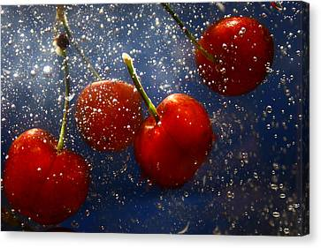 Canvas Print featuring the photograph Cherry Splash by Paula Brown