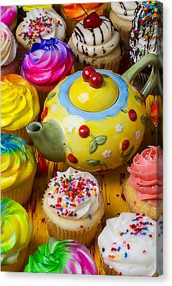 Cherry Teapot And Cupcakes Canvas Print by Garry Gay