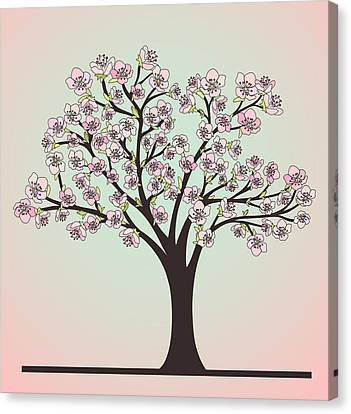 Cherry Tree With Blossoms Canvas Print by Olivera Antic