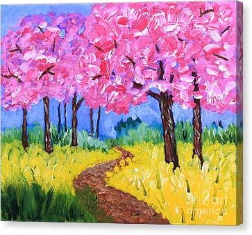 Cherry Trees And Field Mustard After The Rain Acrylic Painting Canvas Print by Beverly Claire Kaiya