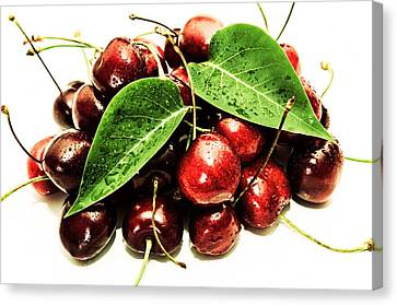 Snack Canvas Print - Cherry With Lovely Drops by Tommytechno Sweden