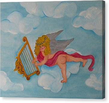 Canvas Print featuring the photograph Cherub In The Clouds by Margaret Newcomb