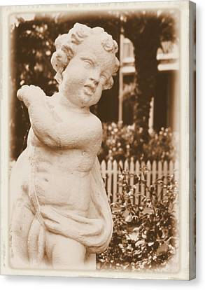 Canvas Print featuring the photograph Cherub In The Garden by Nadalyn Larsen