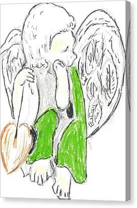 Cherub With Leaf Canvas Print by Michael Snincsak