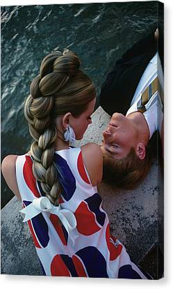 Braids Canvas Print - Cheryl Tiegs With A Male Model by William Connors