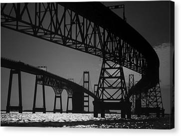 Scenic Drive Canvas Print - Chesapeake Bay Bridge At Annapolis by Skip Willits
