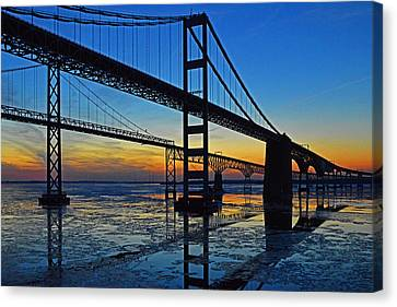 Chesapeake Bay Bridge Reflections Canvas Print by Bill Swartwout