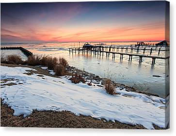 Canvas Print featuring the photograph Chesapeake Bay Freeze by Jennifer Casey