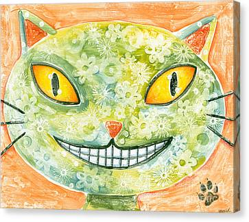 Cheshire Cat Canvas Print by June Beard