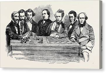 Chess Celebrities At The Late Chess Meeting Canvas Print by English School