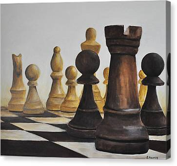 Chess Game Canvas Print by Elena Hasnas