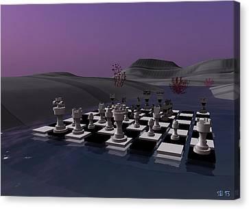 Canvas Print featuring the digital art Chess by Susanne Baumann