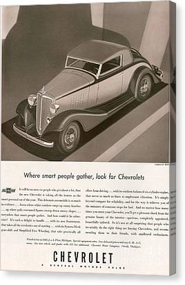 Chevrolet 1933 1930s Usa Cc Cars Canvas Print by The Advertising Archives