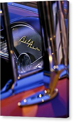 Chevrolet Belair Dash Board Emblem -754c Canvas Print by Jill Reger