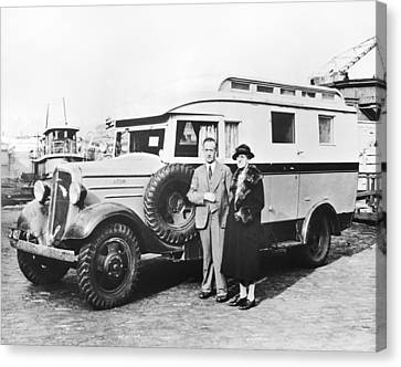 Citizen Canvas Print - Chevrolet Truck Motor Home by Underwood Archives