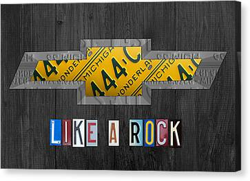 Chevrolet Vintage Logo License Plate Art Like A Rock On Wood Boards Canvas Print by Design Turnpike
