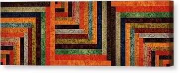 Chevron Brocade Triptych Canvas Print by Michelle Calkins