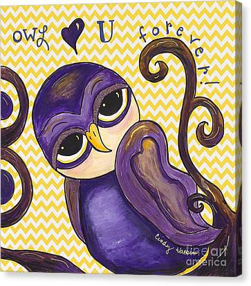 Chevron Owl Love You Forever Canvas Print by Cindy Watkins