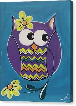 Chevron Owl Canvas Print by Uptown Art