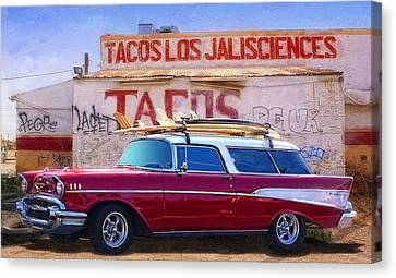 Chevy And Tacos Canvas Print by Ron Regalado