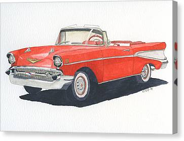 Canvas Print featuring the painting Chevy Bel Air Convertible 57 by Eva Ason