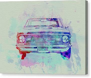 Chevy Camaro Watercolor 2 Canvas Print by Naxart Studio