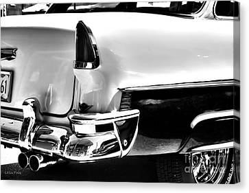 Chevy Car Art Black And White Rear View Canvas Print by Lesa Fine