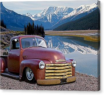 Chevy Pick Up In The Rockies Canvas Print by Gill Billington