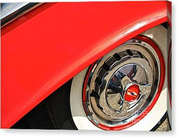 Canvas Print featuring the photograph 1955 Chevy Rim by Linda Bianic