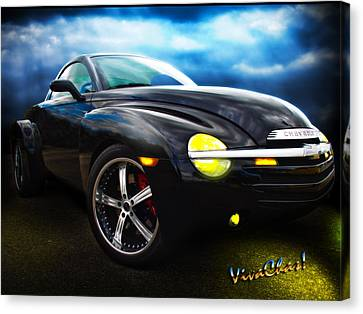 Chevy Ssr Night Life Hot Rods Live Lives All Their Own Canvas Print by Chas Sinklier