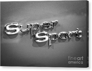Chevy Super Sport Emblem Black And White Picture Canvas Print by Paul Velgos