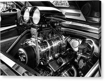 Chevy Supercharger Motor Black And White Canvas Print