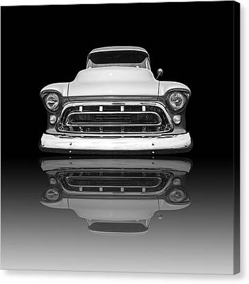 Chevy Truck Reflection On Black Canvas Print by Gill Billington