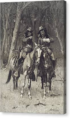 Remington Canvas Print - Cheyenne Scouts Patrolling The Big Timber Of The North Canadian Oklahoma by Frederic Remington
