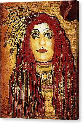 Cheyenne Woman Warrior Canvas Print by Pepita Selles
