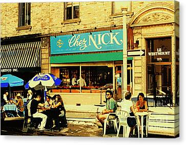Chez Nick On Greene Avenue Montreal In Summer Cafe Art Westmount Terrace Bistros And Umbrellas Canvas Print by Carole Spandau
