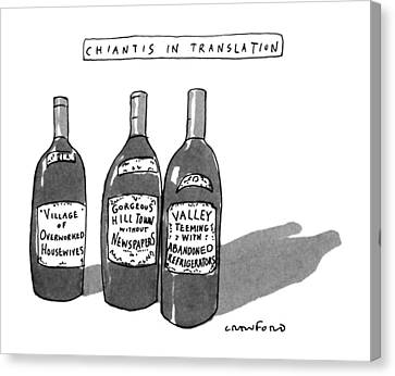 Labelled Canvas Print - Chiantis In Translation by Michael Crawford