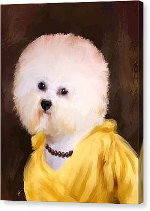 Chic Bichon Frise Canvas Print