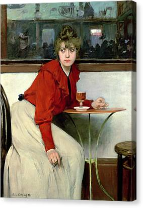 Chica In A Bar Canvas Print by Ramon Casas i Carbo