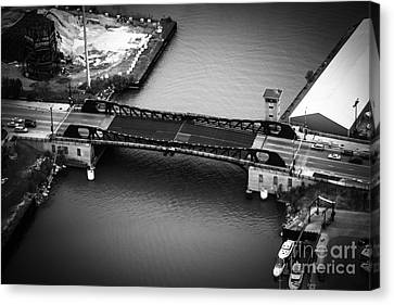 Chicago 95th Street Bridge Aerial Black And White Picture Canvas Print by Paul Velgos